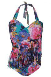 Plus Size Halterneck Print Fringed One Piece Swimwear - PURPLE 2XL