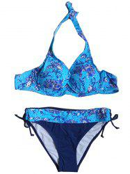 Plus Size Halter Neck Print Drawstring Bikini Suit -