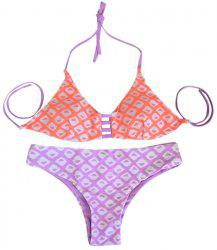 Women's Stylish Halter Geometrical Print Bikini Suit Swimwear -