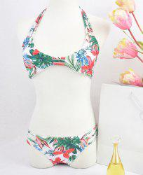 Women's Stylish Tropic Printed Halter Bikini Suit Swimwear -