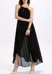 Halter Chiffon Backless Maxi Swing Prom Dress