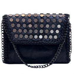 Fashionable Metal and Black Color Design Crossbody Bag For Women -