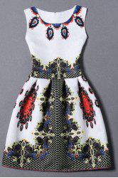Vintage Round Collar Sleeveless Printed Zippered Women's Dress - WHITE S
