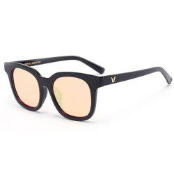 Stylish Small Alloy Inlay and Letters Inside Design Black Sunglasses For Men -
