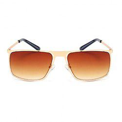 Stylish Hollow Out Golden Alloy Rectangle Frame Sunglasses For Men -