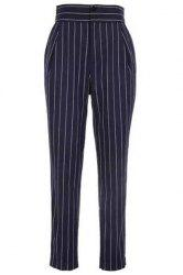 Brief High Waist Striped Pocket Pencil Pants For Women -