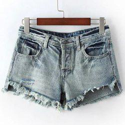 Chic High Waist Fringed Ripped Denim Shorts For Women -