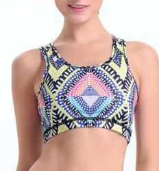 Active Scoop Neck Argyle Pattern Print Shakeproof Women's Sports Bra -