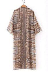 Fashionable Collarless 3/4 Length Sleeves Printed Loose Cardigan For Women -