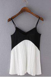 Fashionable Spaghetti Strap Color Block Pleated Tank Top For Women -