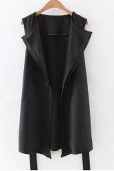 Stylish Lapel Solid Color Belted Waistcoat For Women -