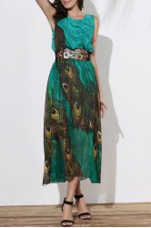 Fashionable Scoop Neck Peacock Feather Print Sleeveless Dress For Women