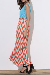 Scoop Neck Sleeveless Chevron Maxi Sundress - GREEN