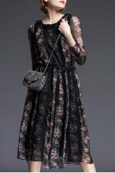 Tiny Floral Print Lace Spliced Dress -