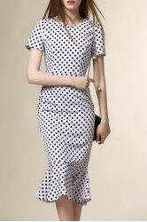 Short Sleeve Polka Dot Mermaid Prom Dress -