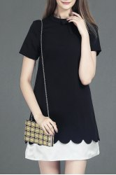 Color Block A Line Short Sleeve Dress -