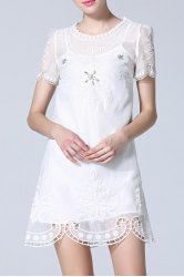 Beaded Embroidery Hollow Out Dress -