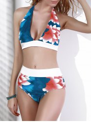 Fashionable Halter Floral Print Backless Women's Bikini Set