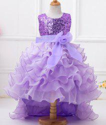Sweet Round Neck Sequin Embellish High Low Girl's Multilayered Dress