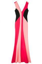 Elegant Double-V Color Block Women's Maxi Mermaid Dress