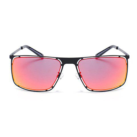 Buy Chic Hollow Out Black Alloy Rectangle Frame Sunglasses For Women