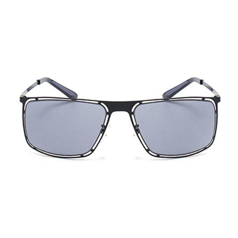 Online Chic Hollow Out Black Alloy Rectangle Frame Sunglasses For Women