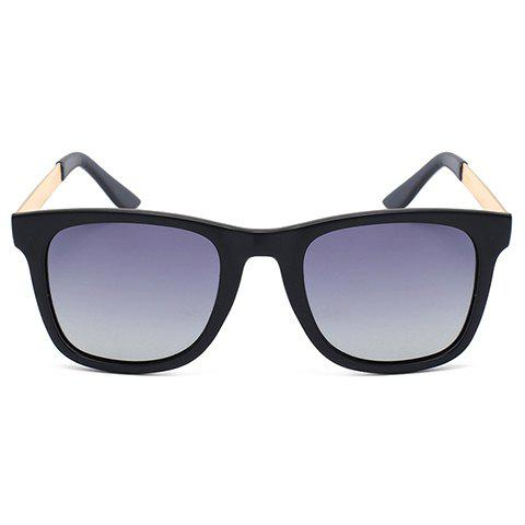 Chic Golden Alloy Leg Matte Black Frame Sunglasses For WomenACCESSORIES<br><br>Color: GRAY; Group: Adult; Gender: For Women; Style: Fashion; Shape: Square; Lens material: Resin; Frame material: Acetate; Frame Color: Black; Lens height: 5CM; Lens width: 6CM; Temple Length: 13.6CM; Nose: 1.5CM; Frame Length: 13.4CM; Weight: 0.084kg; Package Contents: 1 x Sunglasses;
