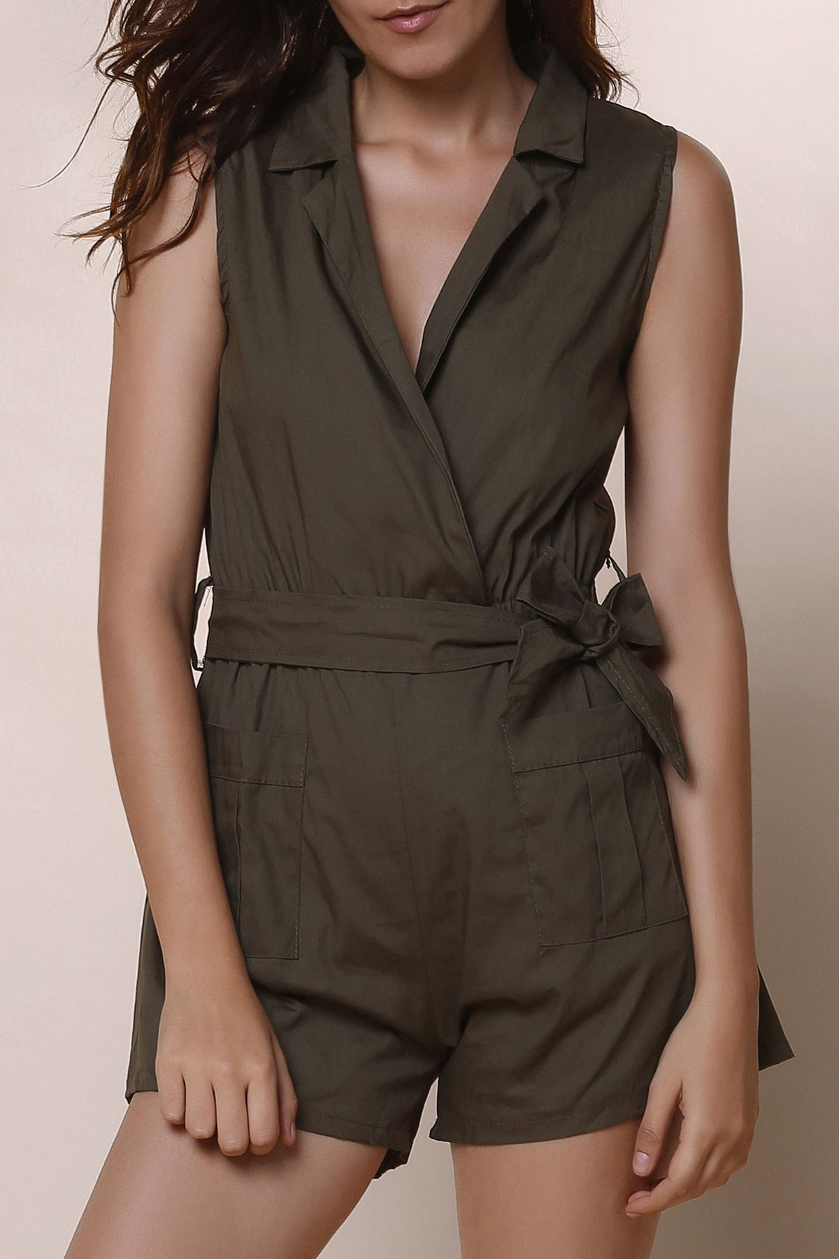 Online Casual Turn-Down Collar Solid Color Romper For Women