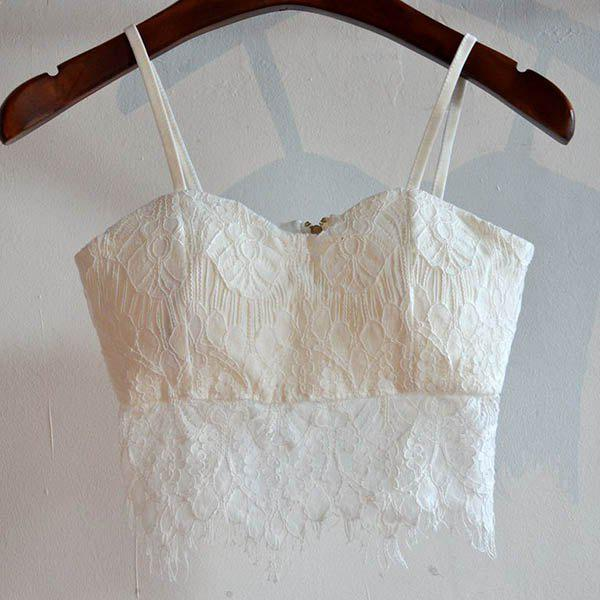 Shops Fringed Lace Cami Bra Tank Top