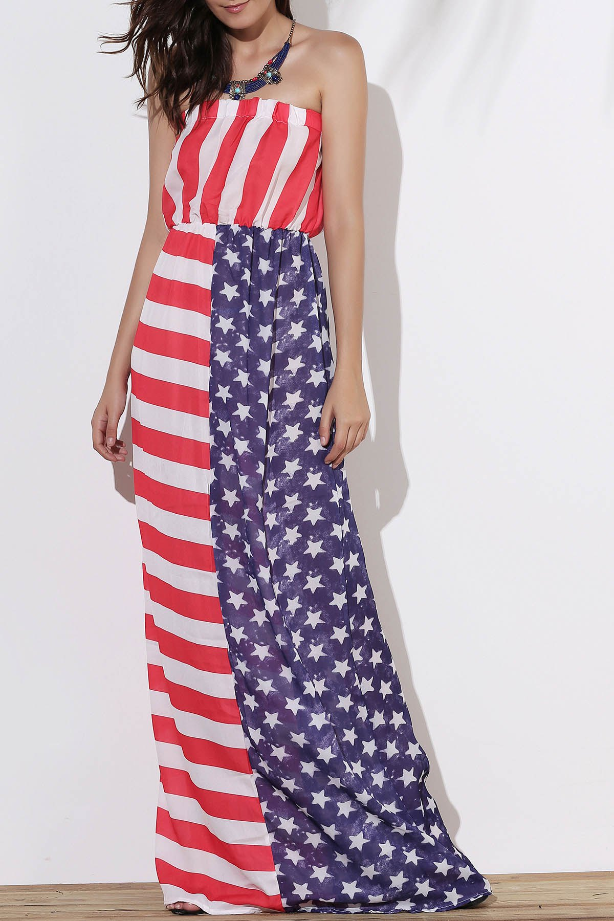 Discount Strapless Patriotic American Flag Maxi Bandeau Dress