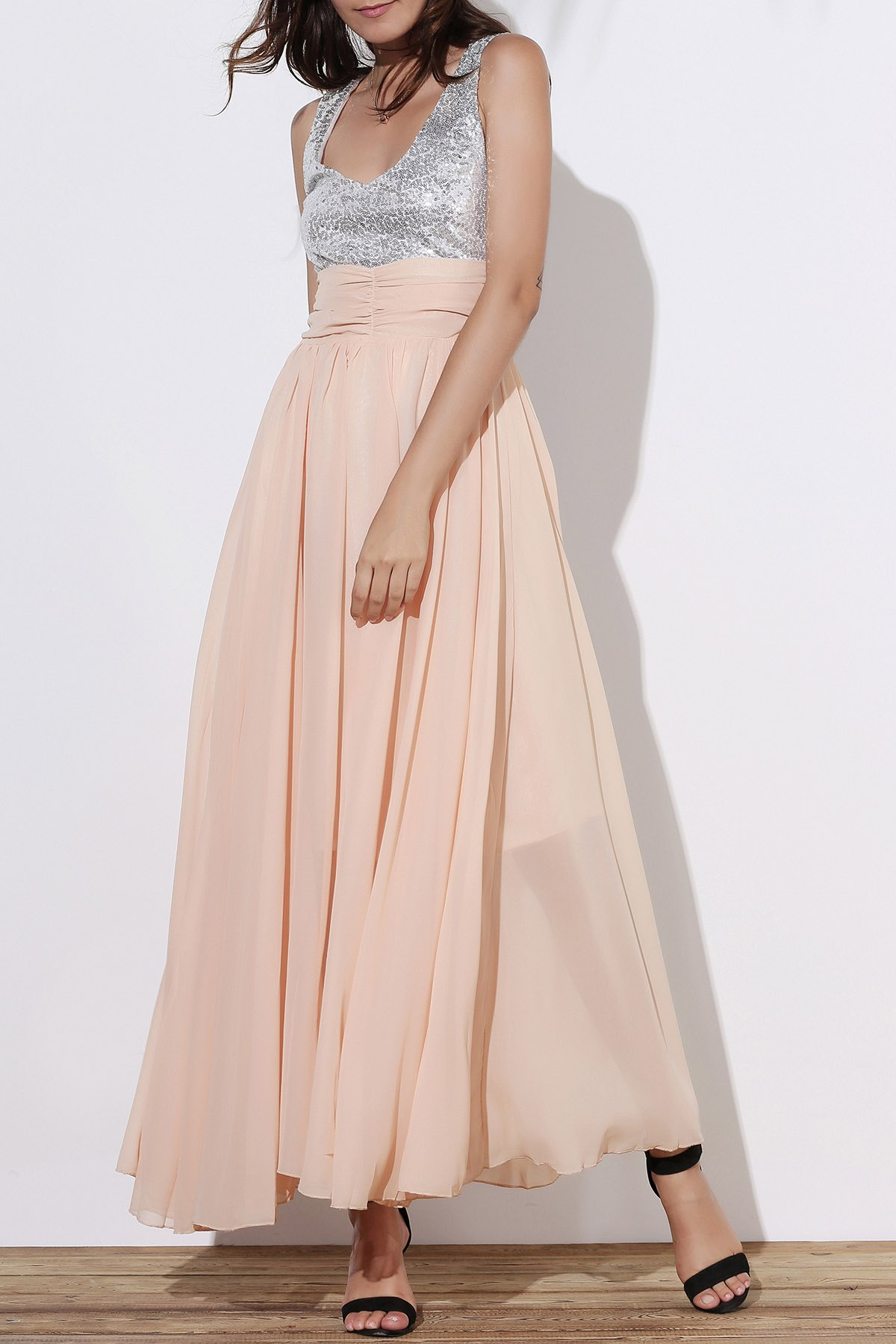 Hot Sequin Empire Waist Chiffon Long Prom Evening Dress