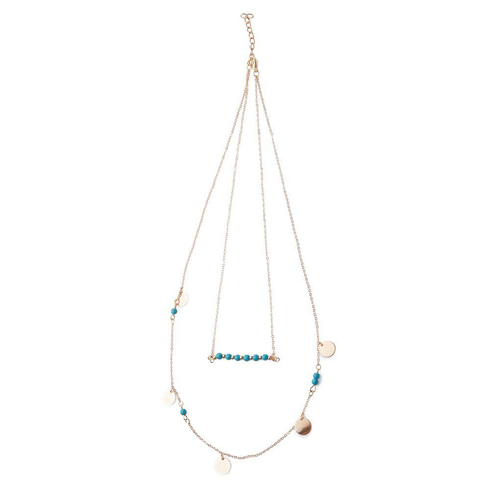 Trendy Beads Double-Layered Womens NecklaceJEWELRY<br><br>Color: GOLDEN; Item Type: Chainsaw Necklace; Gender: For Women; Style: Trendy; Shape/Pattern: Others; Length: 45/55CM; Weight: 0.036kg; Package Contents: 1 x Necklace;