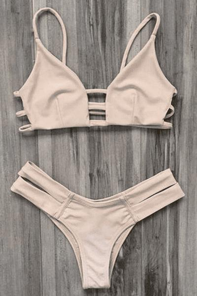 Unique Spaghetti Straps Ladder Cut Bikini