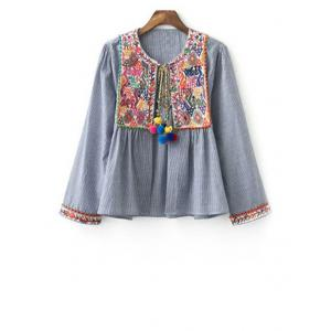 Stylish Round Neck Long Sleeve Ethnic Embroidery Women's Coat