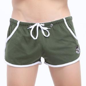 Lace-Up Embroidered Straight Leg Boxer Shorts For Men