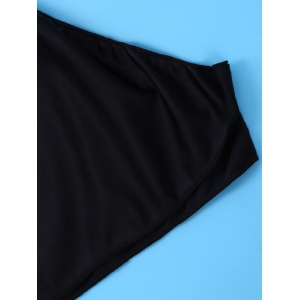 Plunging Neck Skirted One Piece Swimsuit - BLACK XL