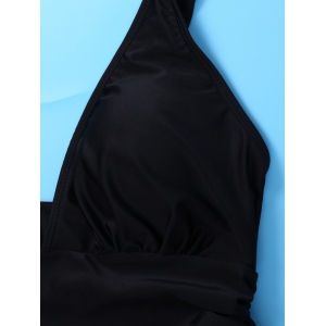 Plunging Neck Skirted One Piece Swimsuit - BLACK 2XL