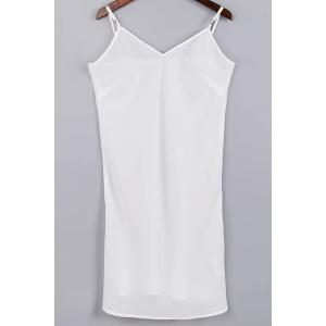 Trendy Cami Tank Top and 3/4 Sleeve Drawstring Embroidery Dress Twinset For Women - WHITE S