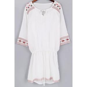 Trendy Cami Tank Top and 3/4 Sleeve Drawstring Embroidery Dress Twinset For Women - White - S