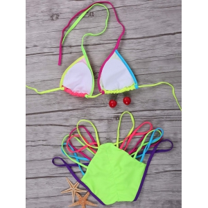 Halter Colorful Strappy String Bikini Set - COLORMIX L