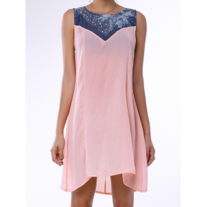 Denim Trim Rhinestone Embellished Sleeveless Shift Dress - LIGHT PINK L
