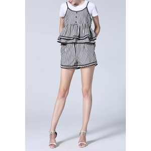T-Shirt and Stripe Peplum Cami Top and Shorts -