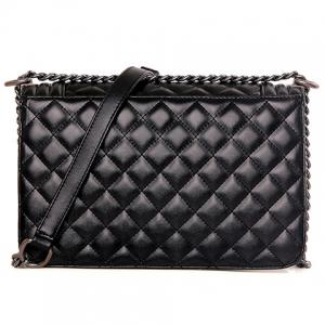 Stylish Black Colour and Argyle Pattern Design Crossbody Bag For Women -