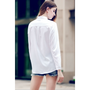 Fashionable Shirt Collar Solid Color Long Sleeve Tie Blouse For Women -