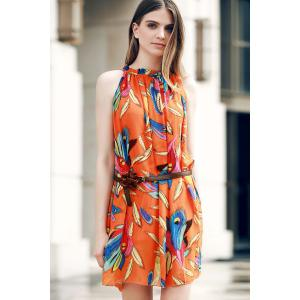 Graceful Ruffled Collar Feather Print Asymmetric Sleeveless Dress For Women -
