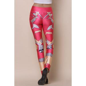 Stylish Elastic Waist Printed Slimming Women's Yoga Pants - RED ONE SIZE(FIT SIZE XS TO M)
