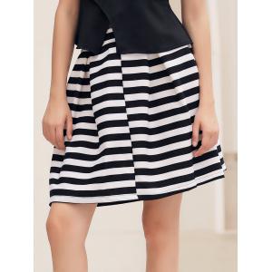 Box Pleat Striped A Line Skirt