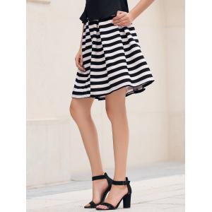 Box Pleat Striped A Line Skirt - NATURAL WHITE LIGHT L
