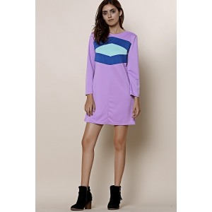 Casual Color Block Mini T Shirt Dress - LAVENDER M