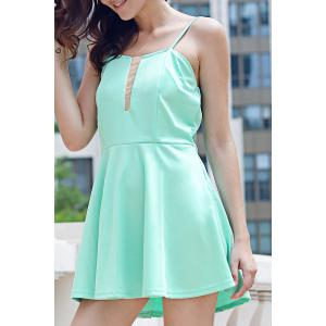 Endearing Green Spaghetti Strap Low-Cut Mini Dress For Women - Green - Xl